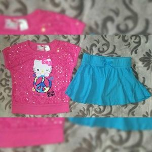 Hello Kitty Sequined Top & Kid Concepts Skirt 6/6X
